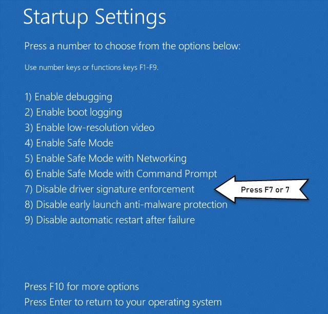 Windows Startup Settings Disable Driver Signature Enforcement